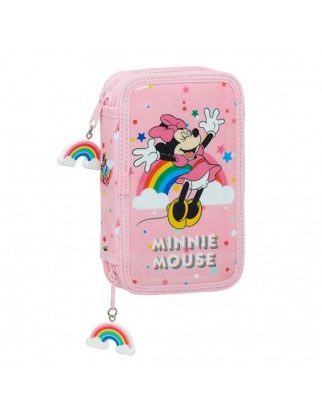 Minnie Mouse Rainbow Plumier doble, estuche con 28 piezas, niña