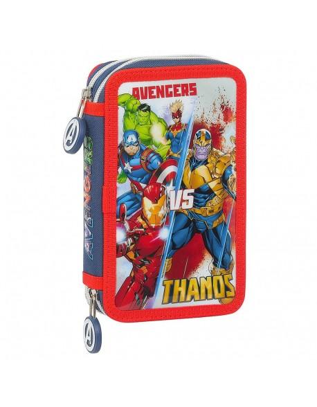 Avengers Heroes VS Thanos Plumier doble, estuche con 28 piezas, niña