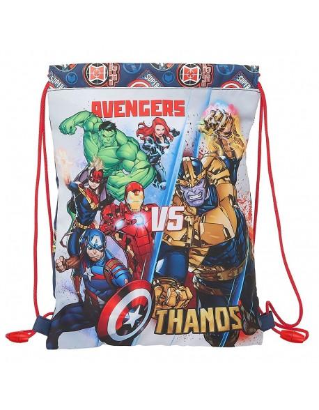Avengers Heroes VS Thanos Saco mochila plano cuerdas 26 x 34 cm