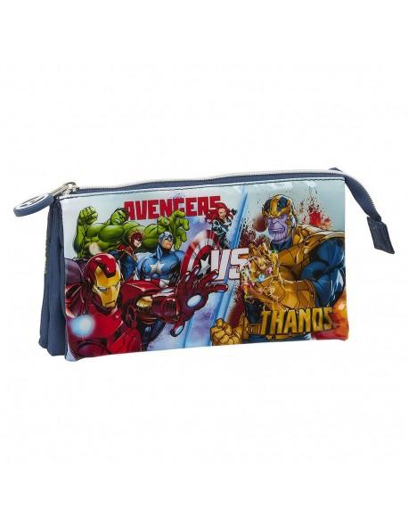 Avengers Heroes VS Thanos Estuche portatodo triple escolar