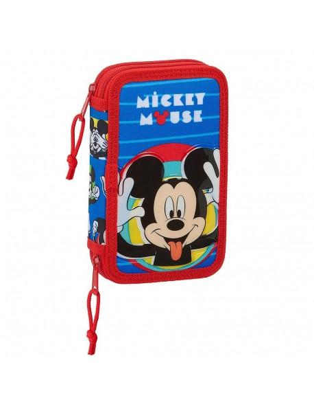 Mickey Mouse Me Time Plumier doble, estuche con 28 piezas, niño