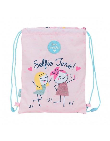 Glowlab Best Friends Saco mochila plano cuerdas 26 x 34 cm