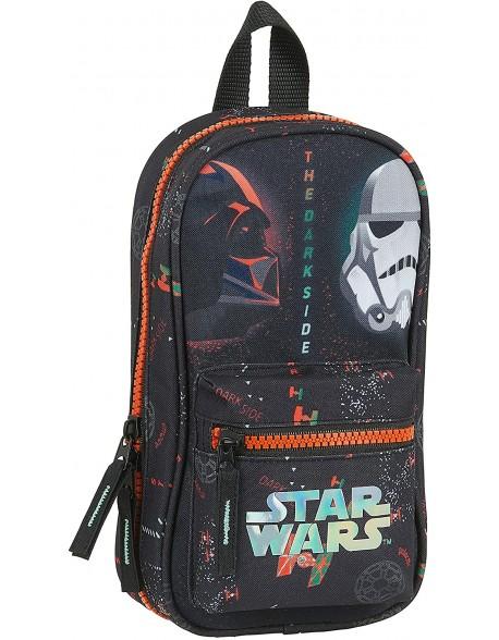 Star Wars Dark Side Plumier mochila 4 estuches llenos, 33 piezas, escolar