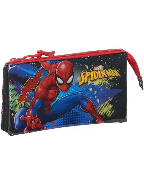 Spiderman Go Hero Estuche portatodo triple escolar