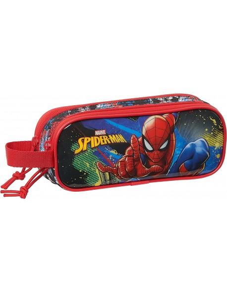 Spiderman Go Hero Estuche portatodo doble 2 cremalleras escolar