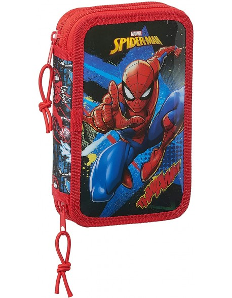 Spiderman Go Hero Plumier doble, estuche con 28 piezas, niño