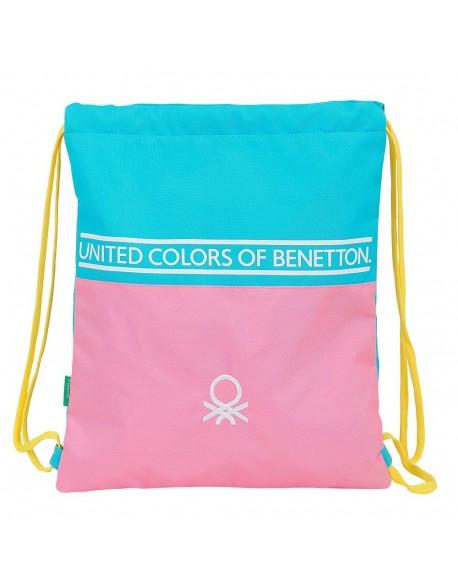 UCB Benetton Color Block Saco mochila plano cuerdas 35 x 40