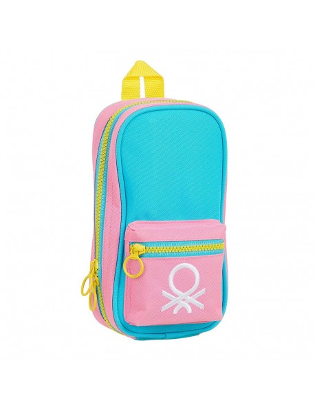 UCB Benetton Color Block Plumier mochila 4 estuches llenos, 33 piezas, escolar