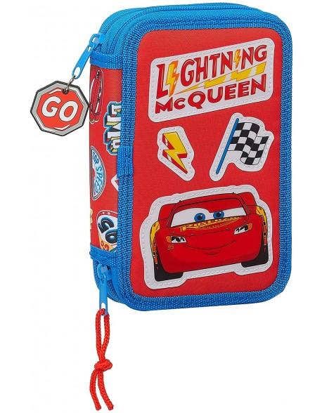 Cars Mc Queen Plumier doble, estuche con 28 piezas, niño