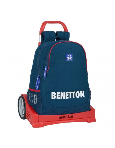 UCB Benetton Navy Mochila con carro ruedas Evolution, Trolley
