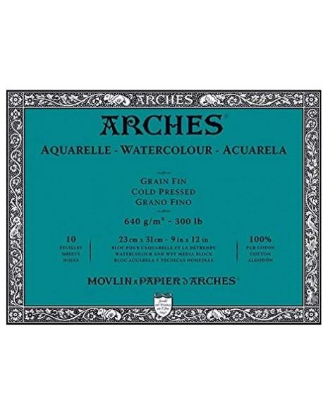 Arches Aquarelle Grano Fino Bloc acuarela, 10 Hojas,  640g
