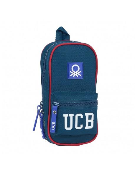 UCB Benetton Navy Plumier mochila 4 estuches llenos, 33 piezas, escolar