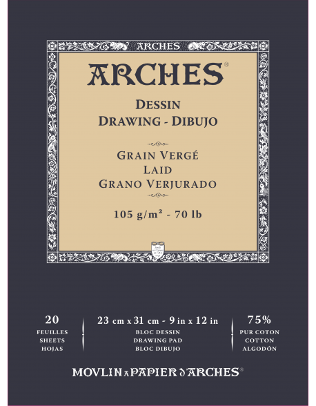 Arches Ingres d´Arches Verjurado Lote 3 Blocs dibujo, 20 Hojas, 105g