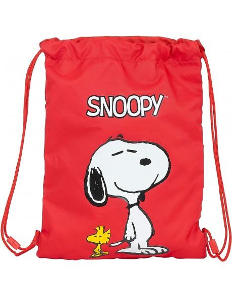 Snoopy Saco mochila plano cuerdas 26 x 34 cm