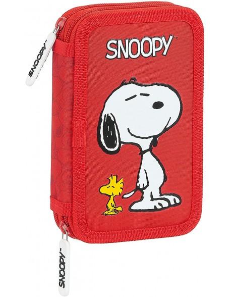 Snoopy Plumier doble, estuche con 28 piezas