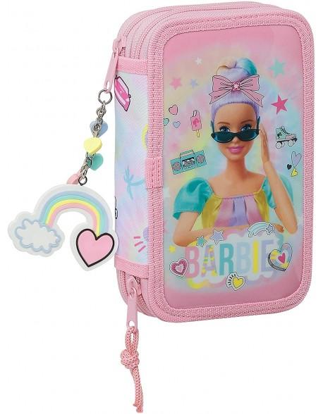 Barbie Girl Power Plumier doble, estuche con 28 piezas, niña