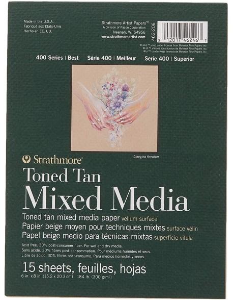 Strathmore Recycled Toned Tan Mixed Media Álbum encolado por un lado, 15 hojas